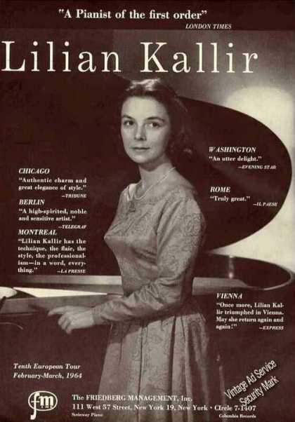 Lilian Kallir Photo Pianist Booking (1963)