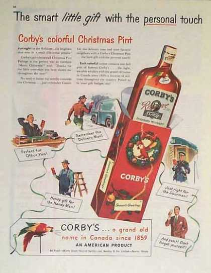 Corby's Christmas – In Canada since 1859 – Sold (1949)