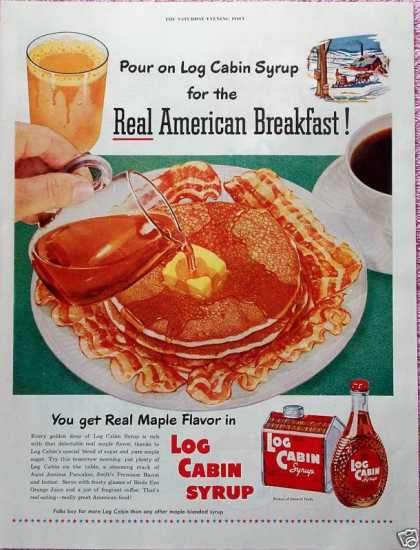Log Cabin Syrup Pancakes Real American Breakfast (1952)
