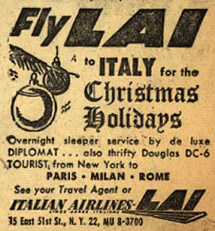 Italian Airline's Italy – Fly LAI to Italy for the Christmas Holidays (1953)