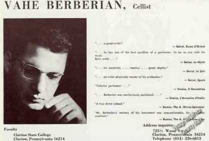 Vahe Berberian Photo Cellist Trade (1967)