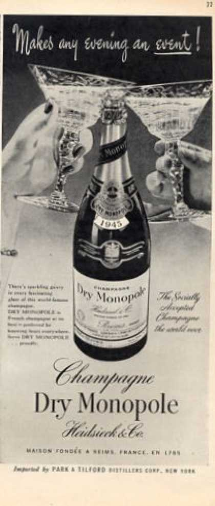 Monopole Champagne 1945 Bottle (1952)