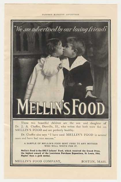Dr J A Chaffee Children Kissing Mellin's Food (1905)