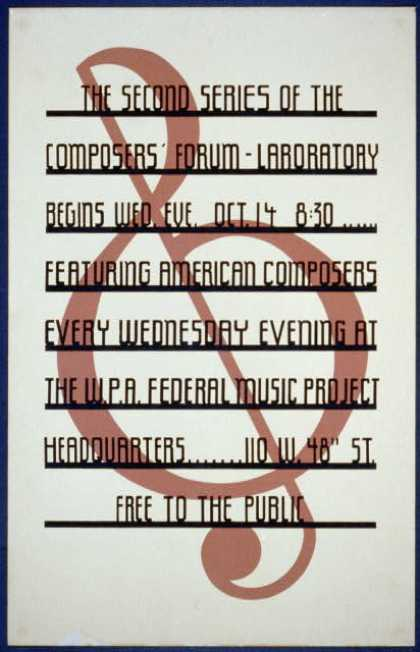 The second series of the composers' forum – Laboratory begins Wed. eve., Oct 14, 8:30 – Featuring American composers every Wednesday evening at the (1936)