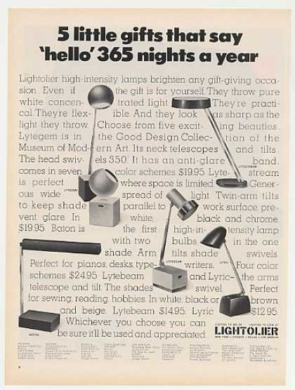 Lightolier Lytegem Lytestream Baton Lyric Lamps (1968)