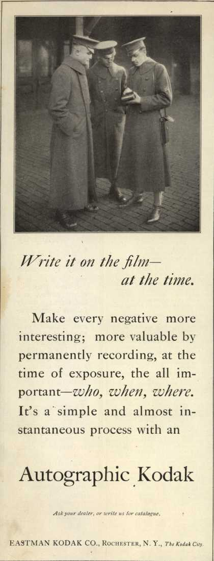 Kodak's Autographic cameras – Write it on the film – at the time. (1917)