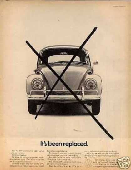 "Volkswagen Car Ad ""It's Been Replaced... (1968)"