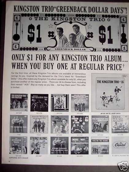 Kingston Trio Records Albums Music Promo (1963)