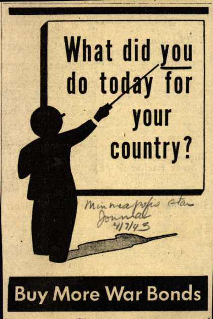 U. S. Government's War Bonds – What did you do today for your country? (1943)