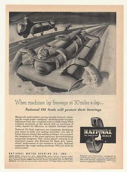 Futuristic Road Builder Machine National Seals (1952)