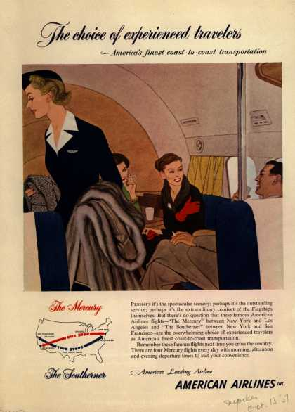 American Airline's coast to coast travel – The choice of experienced travelers – America's finest coast-to-coast transportation (1951)