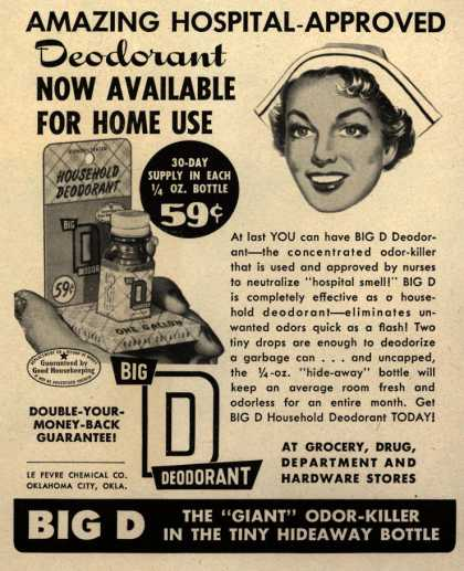 Le Fevre Chemical Co.'s Big D Deodorant – Amazing hospital-approved deodorant now available for home use (1954)