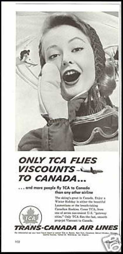 TCA Trans Canada Airlines Snow Skier Photo (1958)