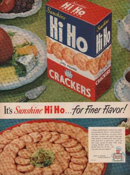 Sunshine Hi Ho Finer Flavor Crackers Print (1949)