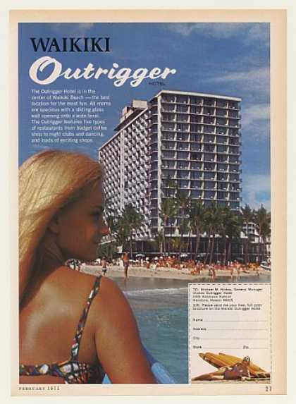 Waikiki Outrigger Hotel Hawaii Photo (1971)