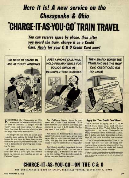 "Chesapeake and Ohio Railway's Service – Here it is! A new service on the Chesapeake & Ohio ""Charge-It-As-You-Go"" Train Travel (1947)"