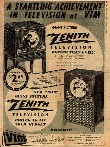 Zenith Radio Corporation's Giant Picture Television – Startling Achievement in Television at VIM (1949)
