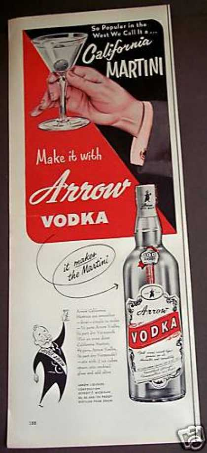 Original Arrow Vodka Recipe for Martini (1953)