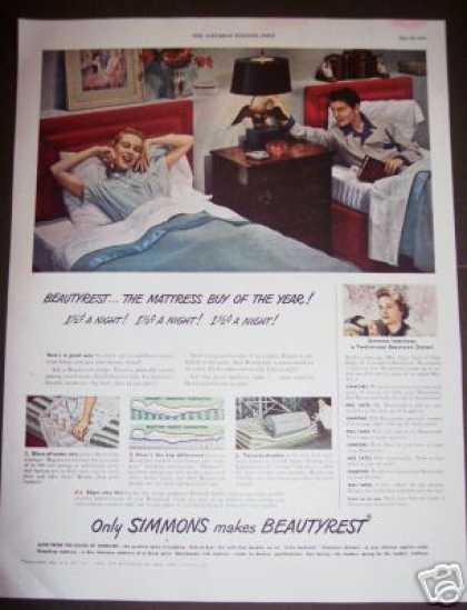 Simmons Beautyrest Mattress Twin Beds (1949)