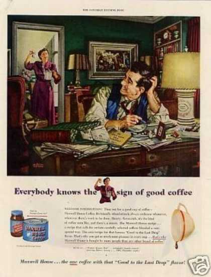 Maxwell House Coffee Ad Albert Dorne Art (1950)
