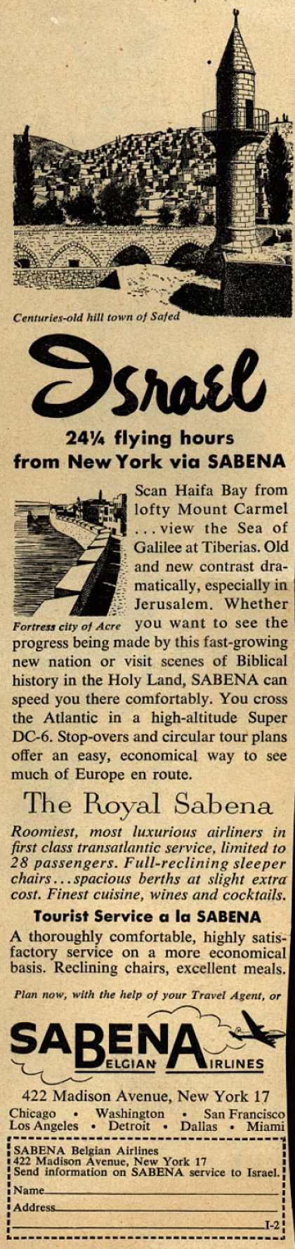 Sabena Belgian Airline's Israel – Israel 24 1/4 flying hours from New York via SABENA (1954)