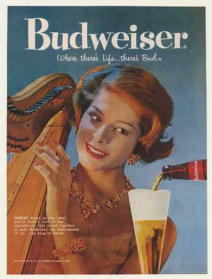 Lady Playing Harp Harmony Bud Budweiser Beer (1959)