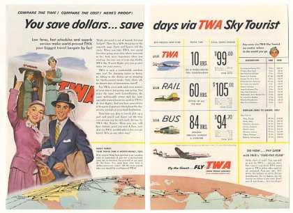 TWA Airlines Sky Tourist Flight Routes 2-Page (1955)