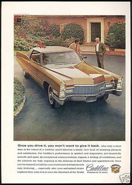 Gold Cadillac 2 Dr Car Photo Vintage (1968)