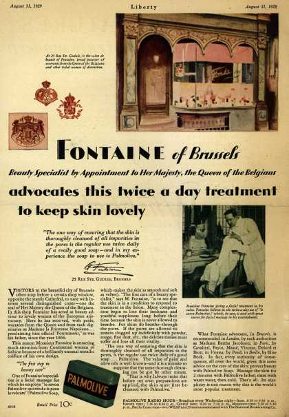 Colgate-Palmolive-Peet Company's Palmolive Soap – Fontaine of Brussels advocates this twice a day treatment to keep skin lovely (1929)