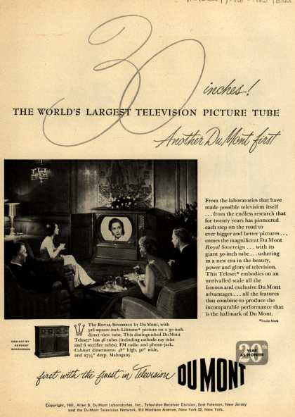 "Allen B. DuMont Laboratorie's The DuMont Royal Sovereign 30"" Television – 30 Inches! The World's Largest Television Picture Tube. Another DuMont First. (1951)"