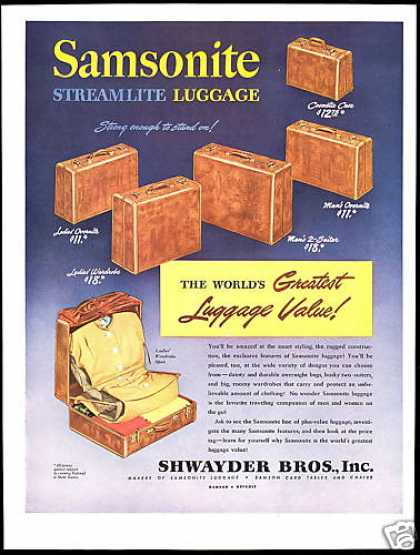 Samsonite Streamlite Luggage Shwayder Bros (1946)