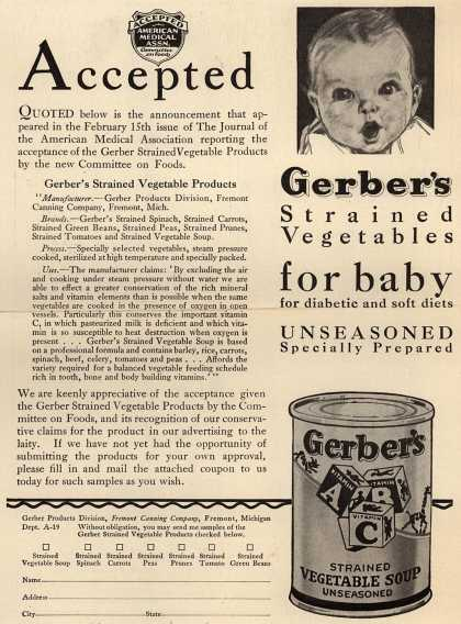Gerber Products Division, Fremont Canning Company's Gerber Strained Vegetables – Accepted (1930)