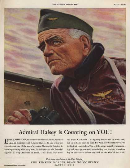 Timken Roller Bearing Company's War Bonds – Admiral Halsey is Counting on YOU (1943)