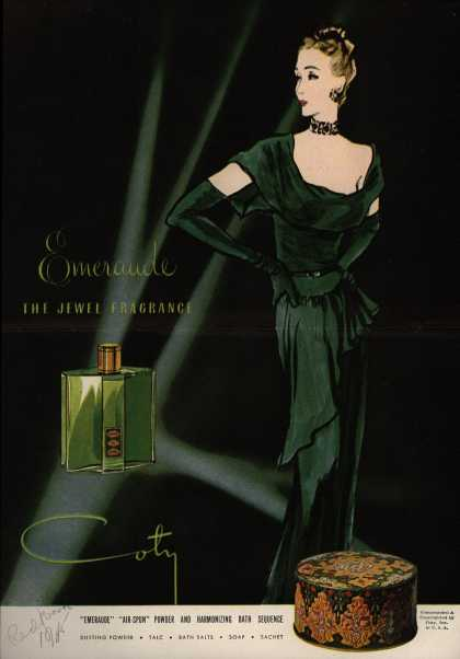 Coty's Emeraude Cosmetics – Emeraude The Jewel Fragrance (1945)