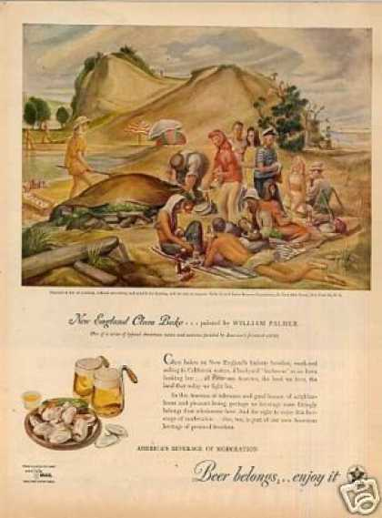 Beer Belongs Ad Clam Bake/ William Palmer Art (1945)