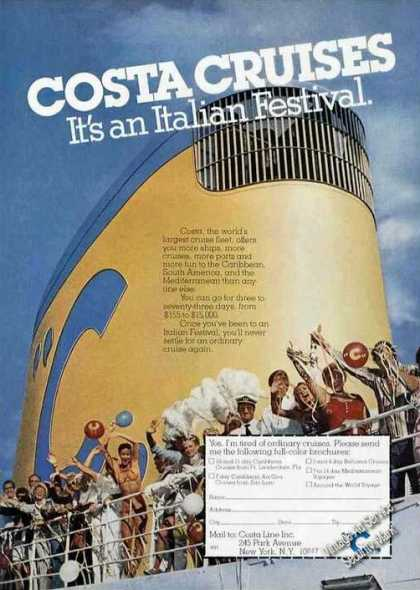 Costa Cruises It's an Italian Festival Photo (1978)
