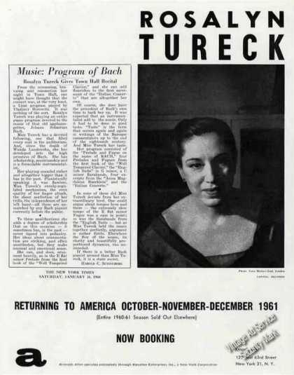 Rosalyn Tureck Photo Pianist Booking (1960)