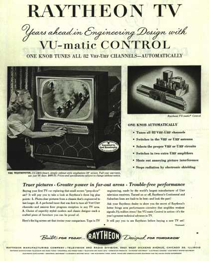 Raytheon Manufacturing Company's Television – RAYTHEON TV Years ahead in Engineering Design with VU-matic Control (1953)