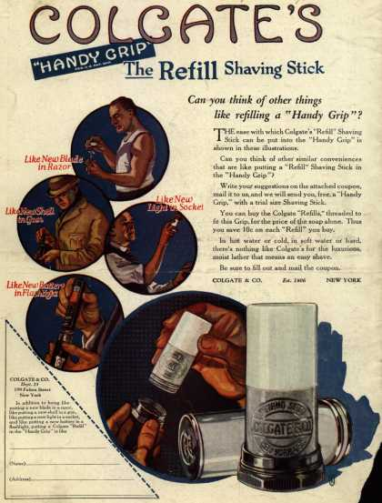 "Colgate & Company's Colgate's Handy Grip – Colgate's ""Handy Grip"" The Refill Shaving Stick (1922)"