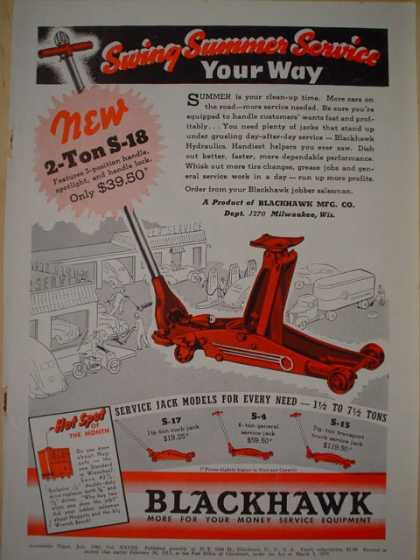 Blackhawk Auto service jacks More for your money service equipment AND Hall Synchronized Valve Servicing Equipment (1940)