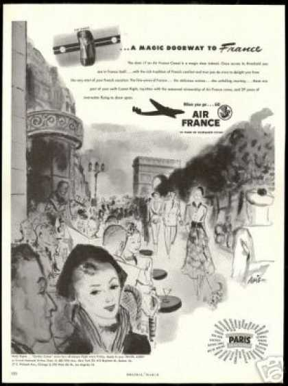 Air France Airlines Comet Sidewalk Cafe Art (1948)