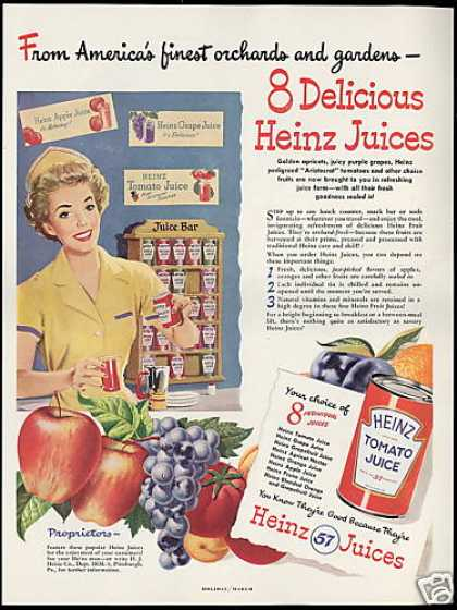 Heinz 57 8 Assorted Juices Vintage Food (1949)