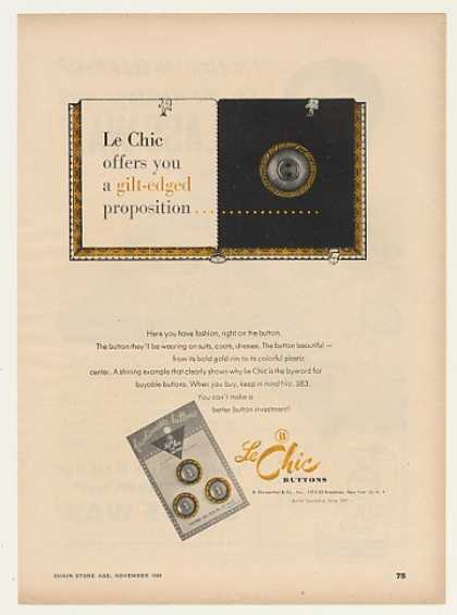 Le Chic Buttons No 583 Gilt-Edged Button Trade (1948)