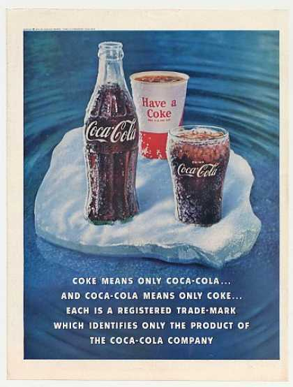 '60 Coke Means Only Coca-Cola Bottle Glass Paper Cup (1960)