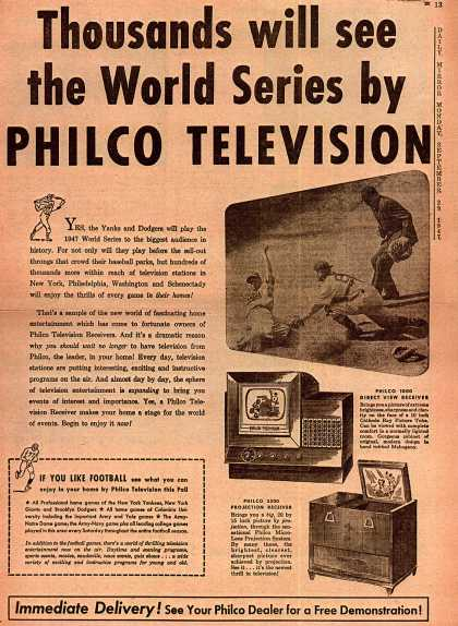 Philco's Direct View Receiver Television – Thousands will see the World Series by Philco Television (1947)