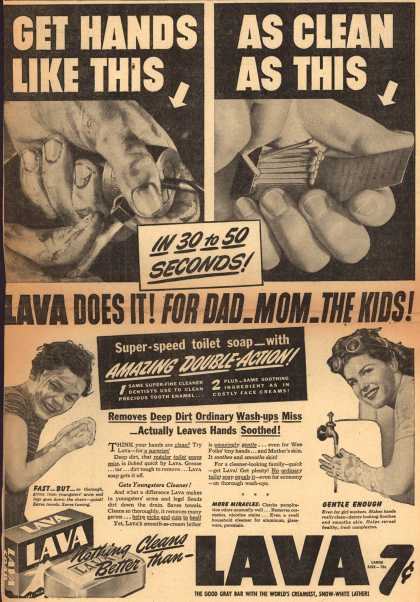 Procter & Gamble Co.'s Lava Soap – Get Hands Like This As Clean As This (1942)