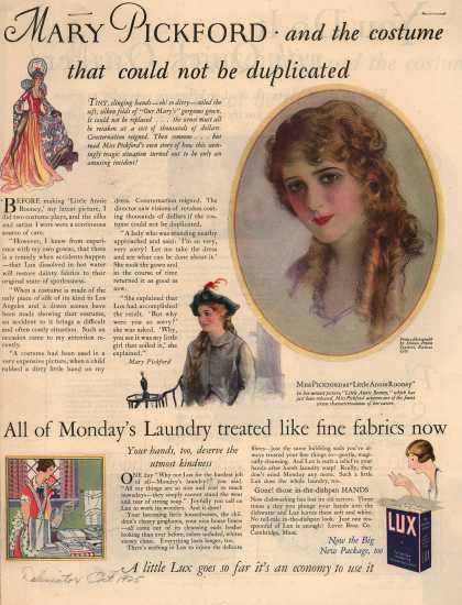 Lever Bros.'s Lux (laundry flakes) – Mary Pickford and the costume that could not be duplicated (1925)