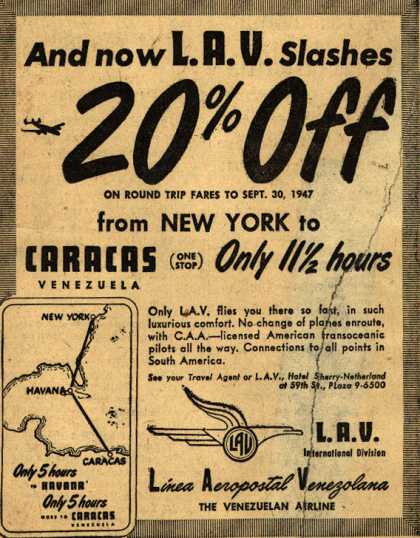 Linea Aeropostal Venezolana- The Venezuelan Airline's Price Reduction to Caracas – And now L.A.V. Slashes 20% Off (1947)