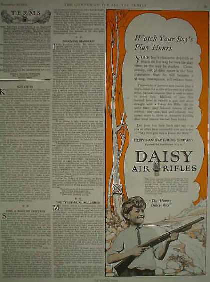 Daisy Air Rifles Happy Daisy Boy 1/2 pg AND Eastman Kodak TEAR AT TOP OF PAGE (1924)