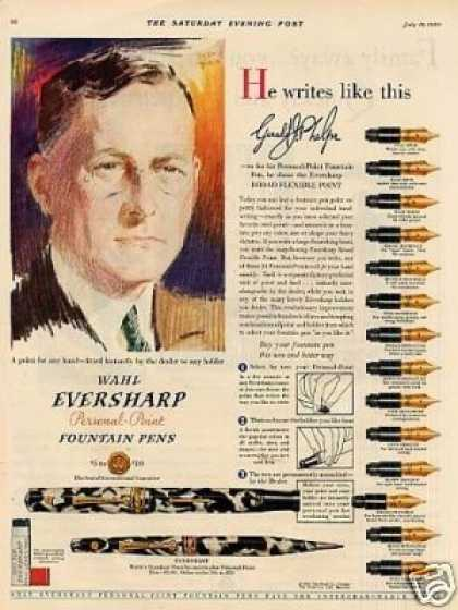 Wahl Eversharp Fountain Pens Color (1930)